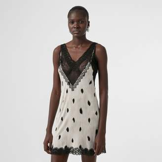 Burberry Lace Panel Animal Print Slip Dress