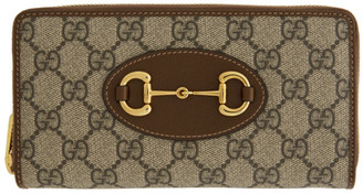 Gucci Beige and Brown GG Supreme 1955 Horsebit Zip Around Wallet