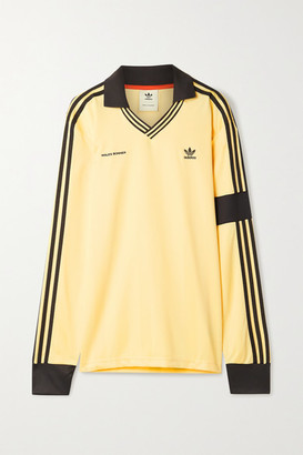 adidas + Wales Bonner Crochet-trimmed Striped Satin-pique Polo Shirt - Pastel yellow