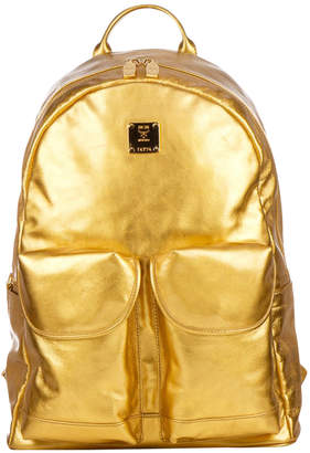 MCM Gold Metallic Leather Backpack