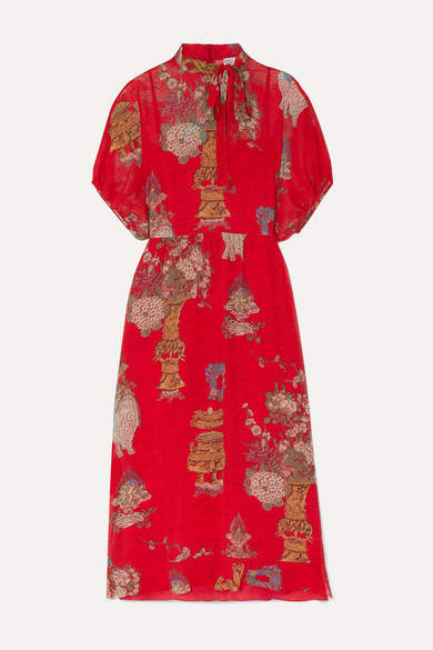 RED Valentino Pussy-bow Printed Silk Crepe De Chine Midi Dress