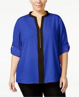 Calvin Klein Plus Size Front-Zip Blouse