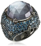 Stephen Dweck Ruthenium Plated Sterling Silver with Rock Crystal MOP Hematite and London Blue Topaz Cyprus Ring - Size K