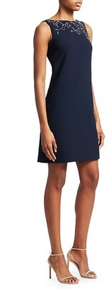 Theia Embellished Crepe Shift Dress