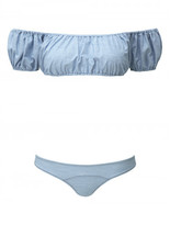 Lisa Marie Fernandez LEANDRA FADED DENIM BIKINI