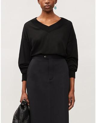 Maison Margiela Dropped-shoulder V-neck cotton-knit jumper