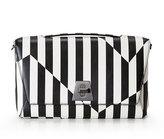Akris Anouk Geo Striped Leather Day Bag, Black/White