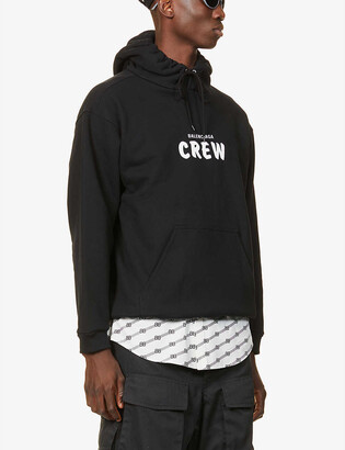 Balenciaga Brand-print crewneck cotton-jersey hoody