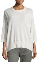 Vince Crewneck Bracelet-Sleeve Cashmere Sweater
