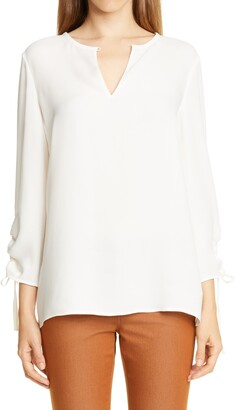 Lafayette 148 New York Jacoby Ruched Sleeve Silk Blouse