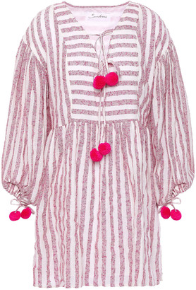 SUNDRESS Monroe Pom Pom-trimmed Striped Cotton-blend Gauze Coverup