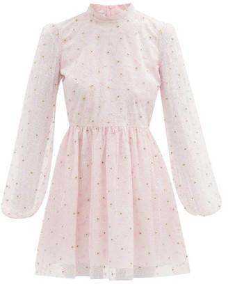 Giambattista Valli Floral-embroidered Tulle Mini Dress - Light Pink