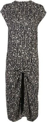 Proenza Schouler White Label Abstract Print Knot Detail Wrap Dress