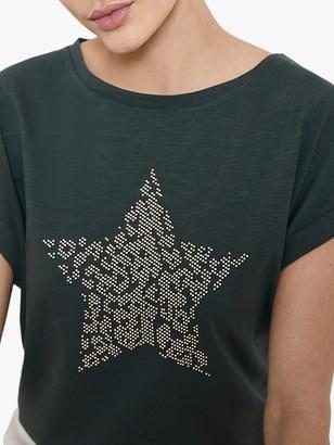 Mint Velvet Star Studded T-Shirt, Khaki