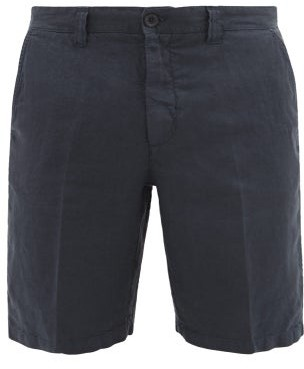 120% Lino Straight-leg Linen Shorts - Navy