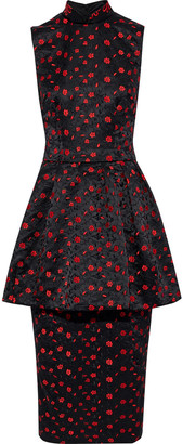 Simone Rocha Embroidered Satin Peplum Midi Dress