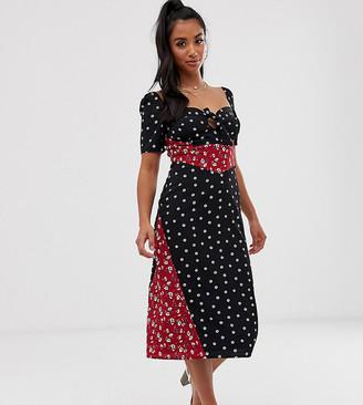 Fashion Union Petite midi dress in mixed print-Multi