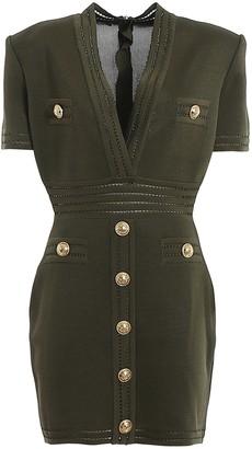 Balmain Short Sleeve Fitted Dress