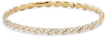 David Yurman 3.4mm Paveflex 18K Gold Bracelet with Diamonds, Size L