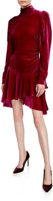 Rotate by Birger Christensen Velvet Turtleneck Drop-Waist Dress