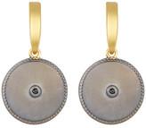 Freida Rothman Black CZ Indigo Armour Pelte Drop Earrings