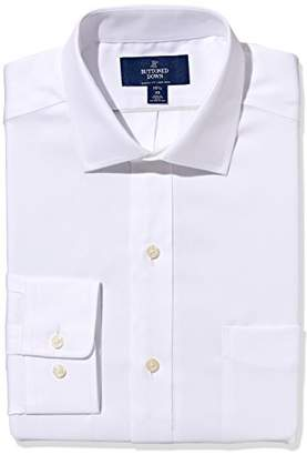 Buttoned Down Classic Fit Spread Collar Solid Non-Iron Dress Shirt, Light Pink/Pockets, 18.5 Inches Neck 36 Inches Sleeve
