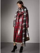 Burberry Laminated Tartan Wool Trench Coat