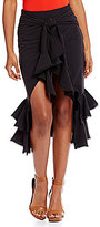 Gianni Bini Jan Tie Front Ruffle Midi Skirt