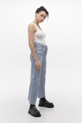 Levi's Ribcage Indigo High-Rise Straight Leg Jeans - blue 25 at Urban Outfitters