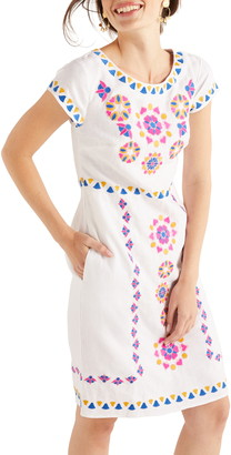 Boden Laura Embroidered Linen Dress
