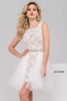 Jovani Lace Jewel A-Line Cocktail Dress with a Tulle Overskirt 45139