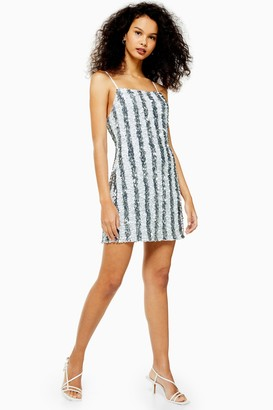 Topshop Womens Pinstripe Sequin Mini Slip Dress - Silver
