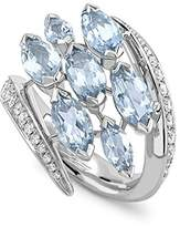 Shaun Leane Women's Clear Diamond and Light Blue Aquamarines Marquise 18 ct White Gold Aerial Crossover Ring - Size N