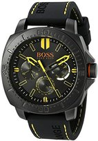 HUGO BOSS BOSS Orange Men's 1513243 SAO PAULO Black Stainless Steel Watch with Rubber Strap