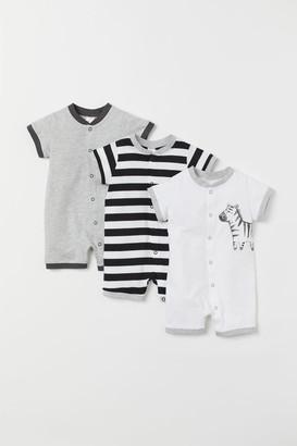 H&M 3-pack Cotton Jumpsuits - White
