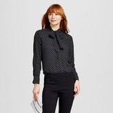 Who What Wear Women's Long Sleeve Piped Bow Blouse