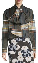 Suno Wool-Blend Plaid Tie-Neck Shirt, Brown/Multicolor