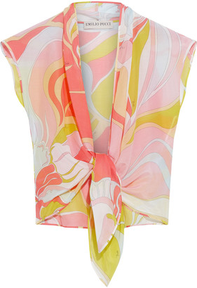 Emilio Pucci Tie-front Printed Cotton And Silk-blend Voile Top