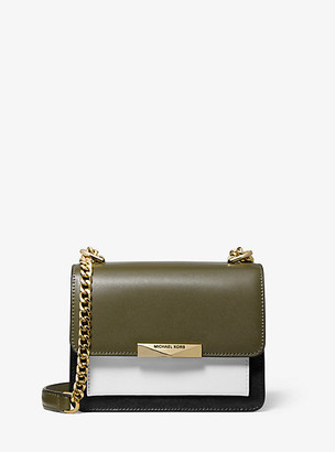 MICHAEL Michael Kors MK Jade Extra-Small Tri-Color Leather Crossbody Bag - Olive Combo - Michael Kors
