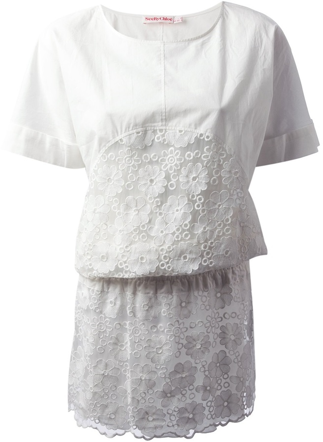 See by Chloe Embroidered organza Dress