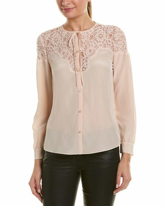 Rebecca Taylor Women's Long Sleeve Silk and Lace Top