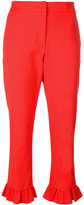 MSGM frilled cropped trousers - women - Cotton/Polyamide/Polyester/Spandex/Elastane - 40