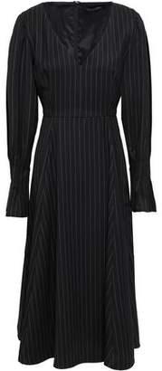 ALEXACHUNG Pinstriped Wool-blend Twill Midi Dress