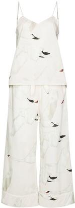 Desmond & Dempsey Cygnus swan-print two-piece pyjamas