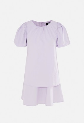 Missguided Petite Lilac Puff Sleeve Tiered Smock Dress