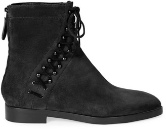 Alaia Lace-Up Suede Ankle Boots