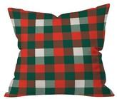 "DENY Designs Red Plaid Zoe Wodarz Christmas Plaid Throw Pillow (16""x16"
