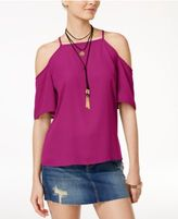 No Comment Juniors' Short-Sleeve Cold-Shoulder Top with Necklace
