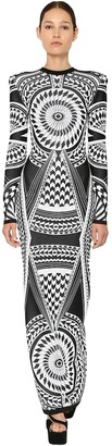 Balmain Fitted Jacquard Knit Long Dress