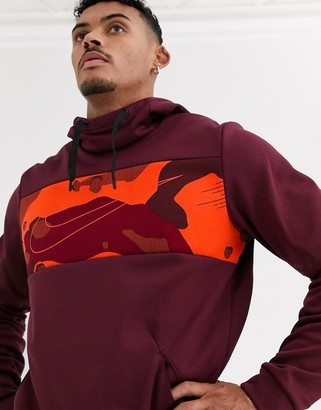 Nike Training therma hoodie with camo panel in burgundy-Red